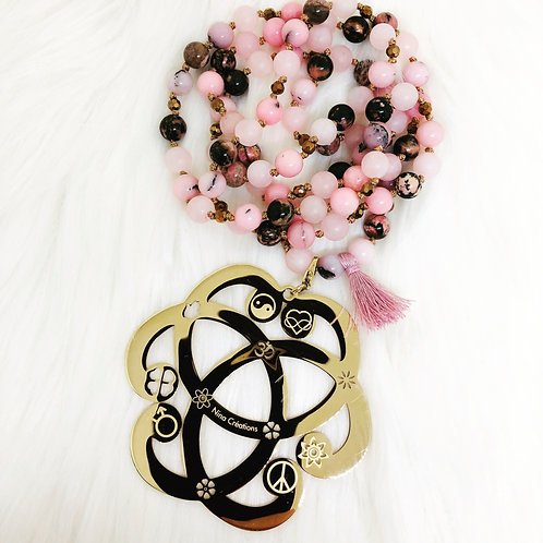 Sautoir en pierres semi précieuses Jaspe, Rhodonite et Quartz Rose