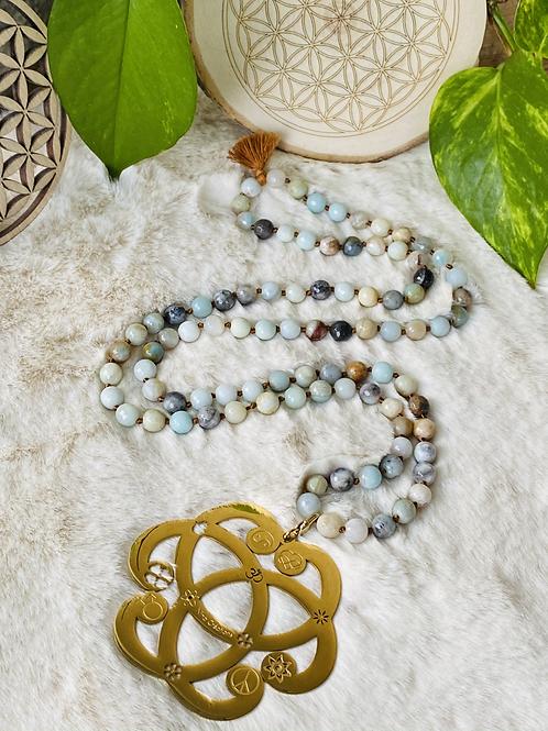 Sautoir en pierres fines AMAZONITE avec pendentif Sérénité