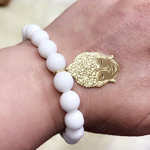Bracelet en pierres semi précieuses jade Blanc avec Pendentifbouddha