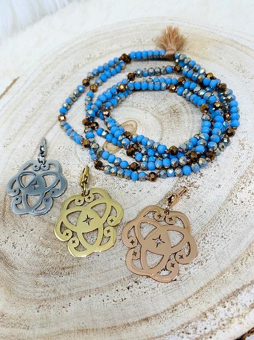 Sautoir tout en perles de cristal Bleude 4mm avec ou sans pendentif