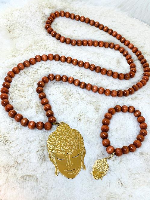 Sautoir et Bracelet en Bois avec Pendentif Bouddha