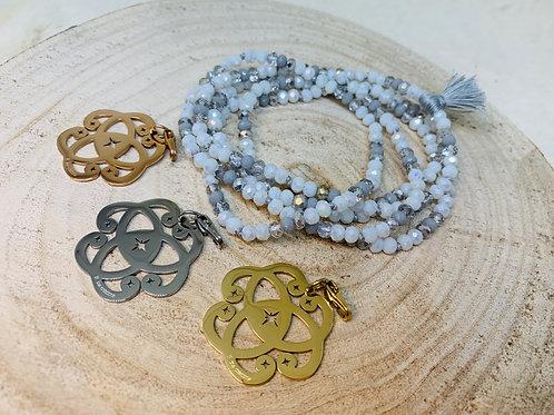 Sautoir tout en perles de cristal Blancet Argenté avec ou sans pendentif