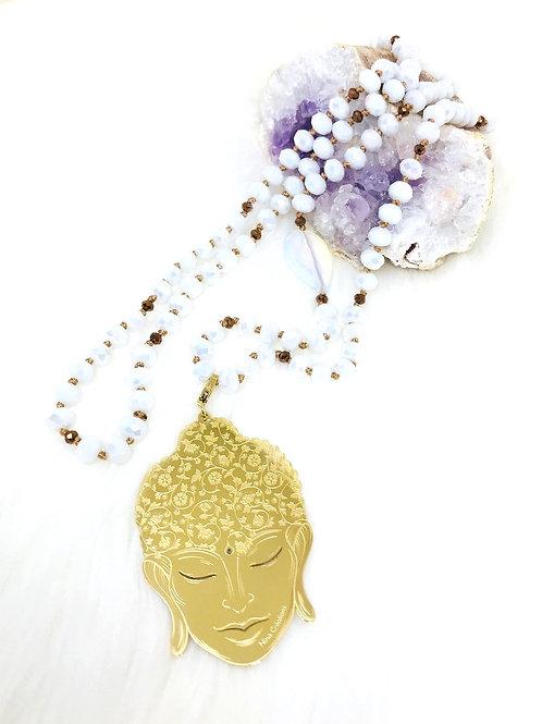 Sautoir tout en perles de cristal Blanc