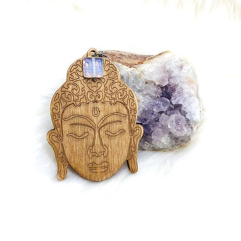 Pendentiftête de bouddhaen bois avec Perle Opalite
