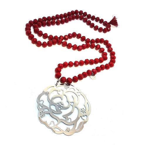 Sautoir tout en perles de cristal ROUGE avec ou sans pendentif