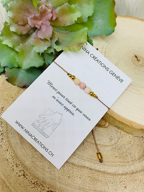 Bracelet Merci Maîtresse en Opale Rose