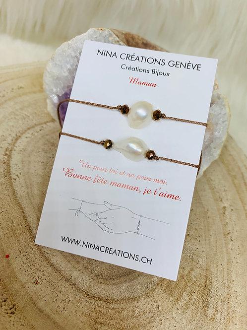 Bracelets mère-fille en Perles d'eau douce
