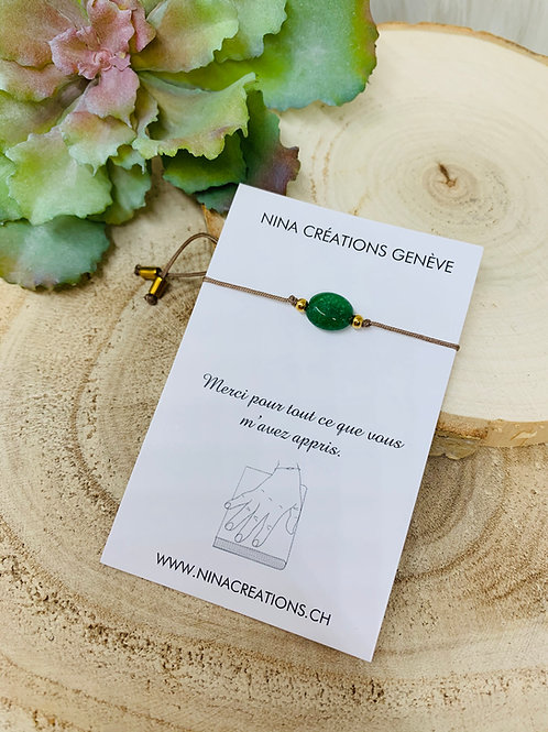 Bracelet Merci Maîtresse en Agate vert