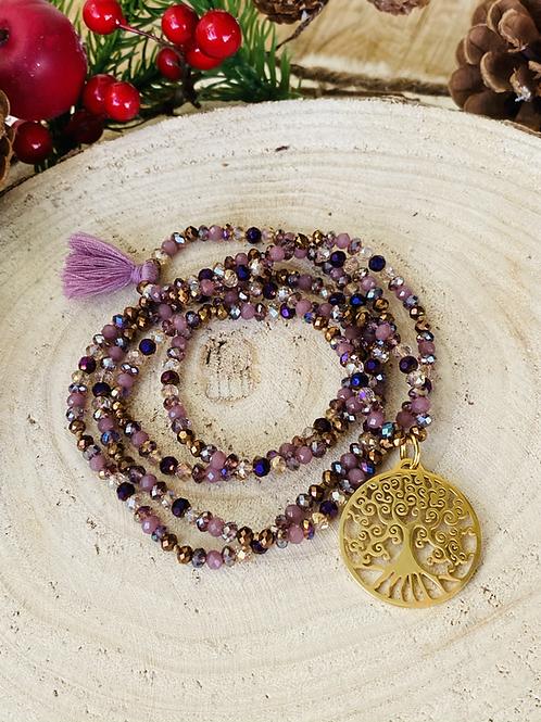 Sautoir en cristal Violet/Doré avec pendentif arbre de vie
