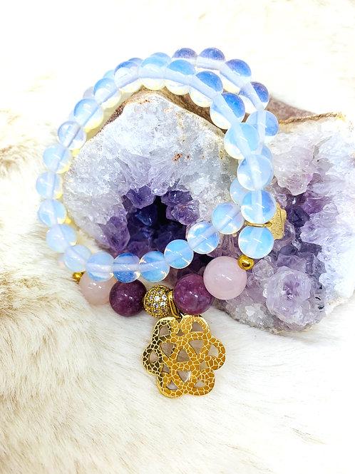 Bracelet double tour en Améthyste et Opalite