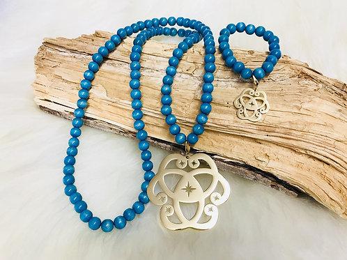 Sautoir et Bracelet Assorti en Perle des bois 10mm Bleu clair