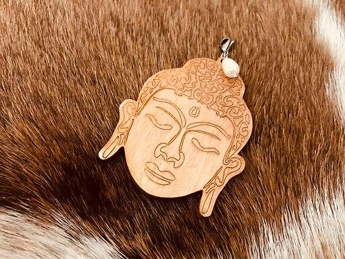 Pendentif tête de bouddha en bois 6cm