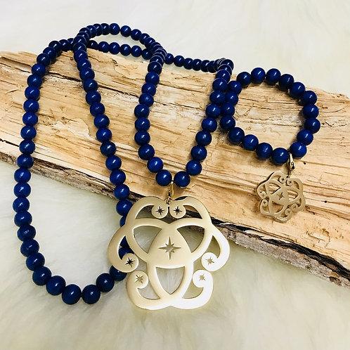 Sautoir et Bracelet Assorti en Perle des bois 10mm Bleu Marine