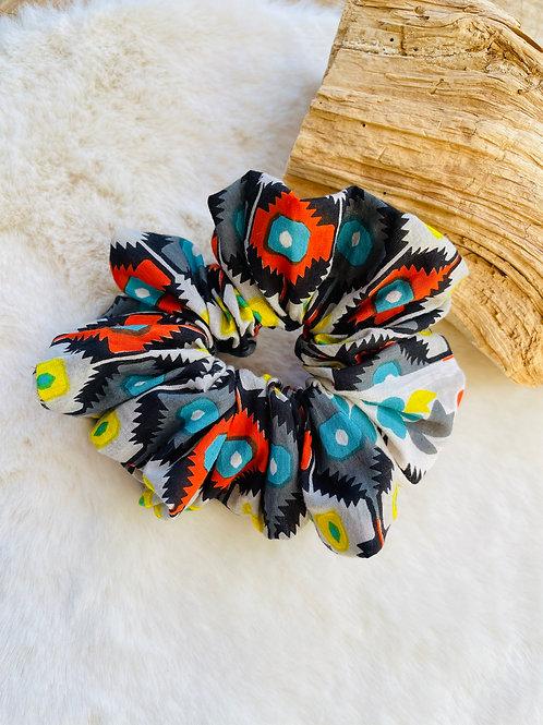 Chouchou multicolore Noir, gris, orange et Turquoise