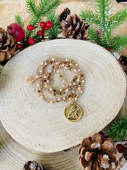 Sautoir tout en perles de cristal Beige/Doré avec pendentif Ange Gardien