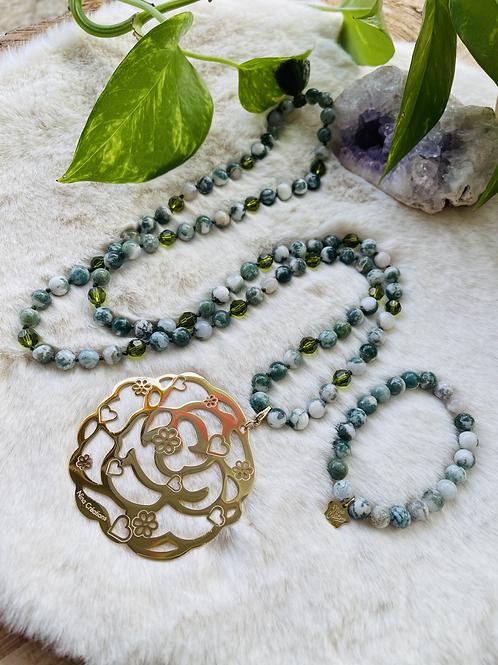 Sautoir et Bracelets en Agate arbre 8mm