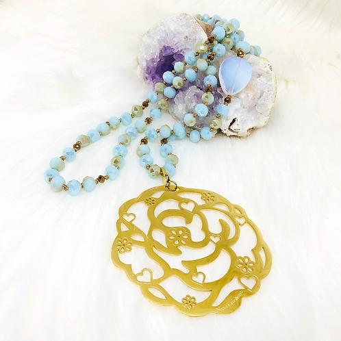 Sautoir tout en perles de cristal bleu Pastel avec ou sans pendentif