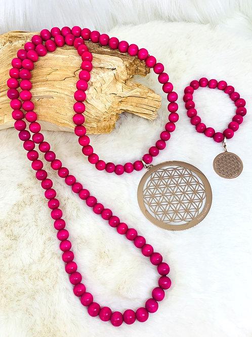 Sautoir et Bracelet en Bois rose avec Pendentif fleur de vie