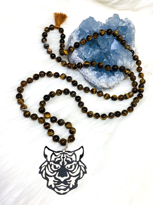 Sautoir en pierres fines d'Oeil de Tigre