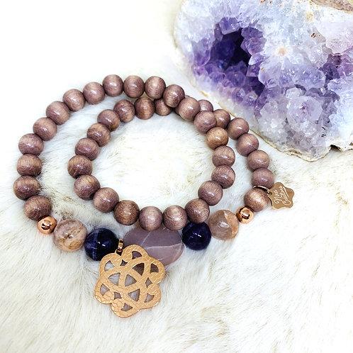 Bracelet double tour enBois et pierres semi précieuses