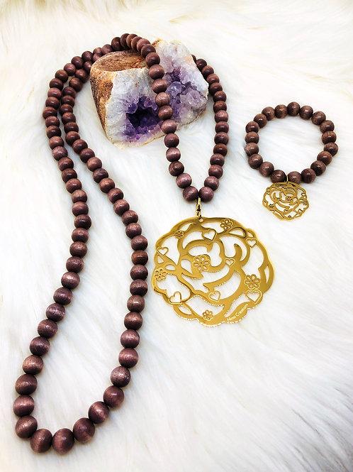 Sautoir et Bracelet Assorti en perle des Bois