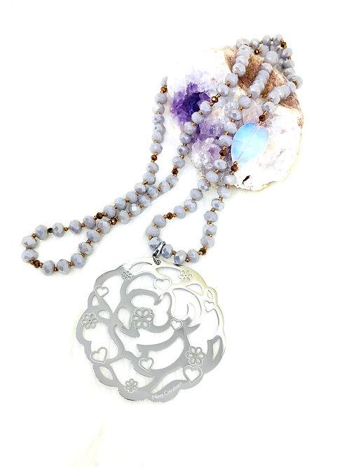 Sautoir tout en perles de cristal Gris avec ou sans pendentif
