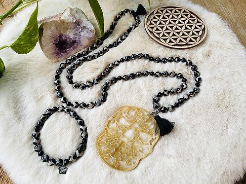 Sautoir et Bracelets en Agate perles8mm