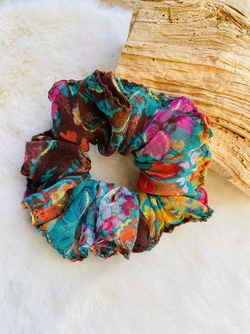 Chouchou multicolore Turquoise et Marron