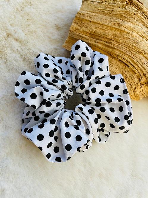 Chouchou Tissu viscose blanc pois noir