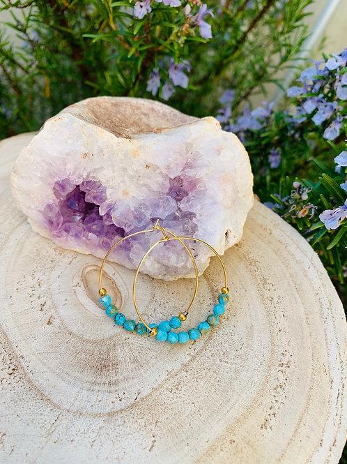 Boucles créoles fines enacier inoxydabledoré avec Magnésite turquoise