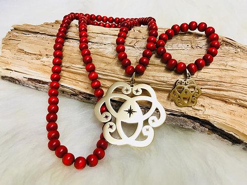 Sautoir et Bracelet Assorti en Perle des bois Rouge