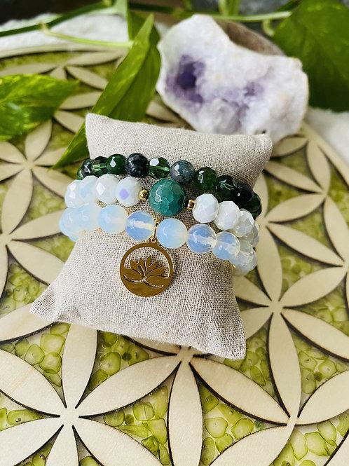 Ensemble de 3 Bracelets en Pierre Naturelles et Cristal