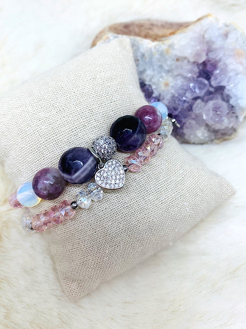 Bracelet double tour en Améthyste,Opalite et Cristal