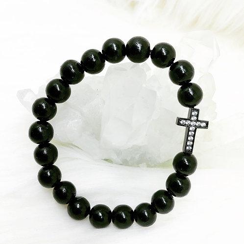 Bracelet en Bois Noir et Croix En Zircon Cubique Noir
