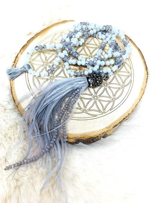Sautoir en perles de cristal Blancet Argenté