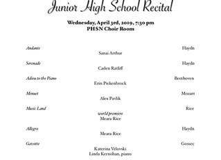 Junior High Studio Recital