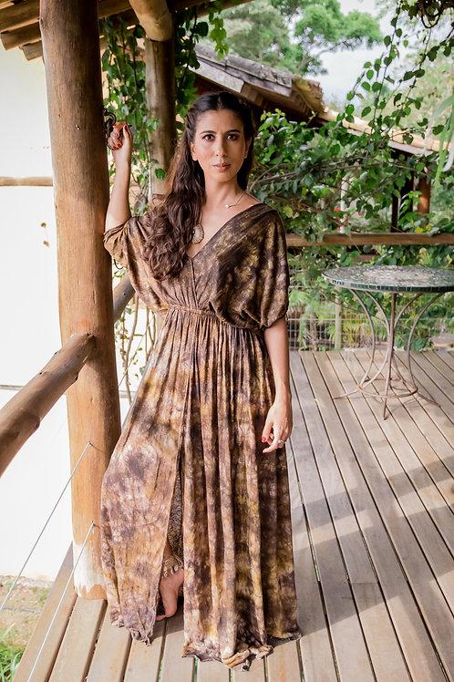Vestido longo Amarílis faveira e paucampeche