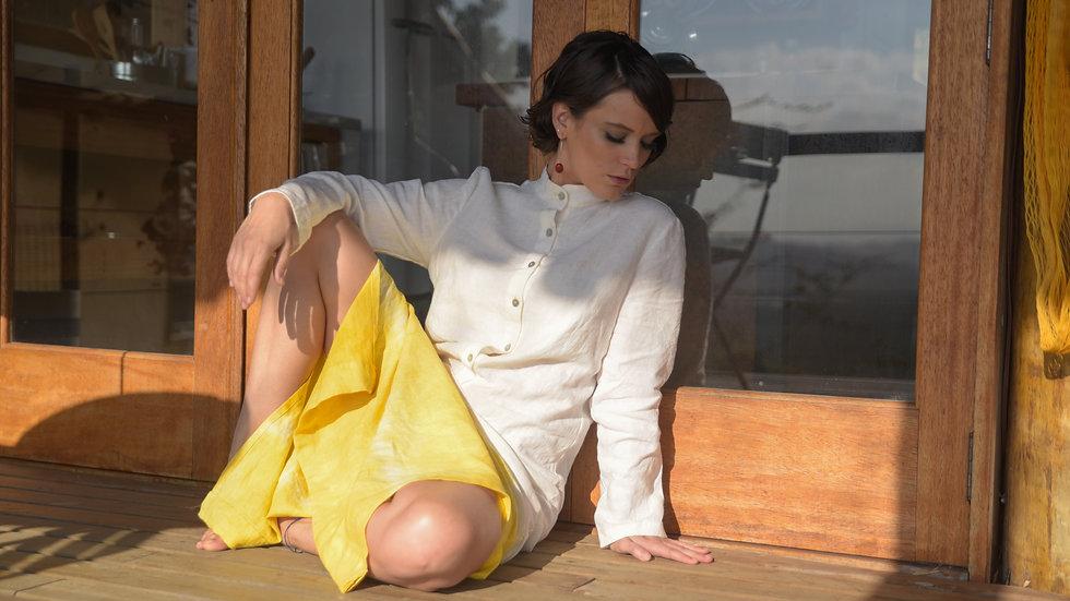 Vestido Linho Açafrão