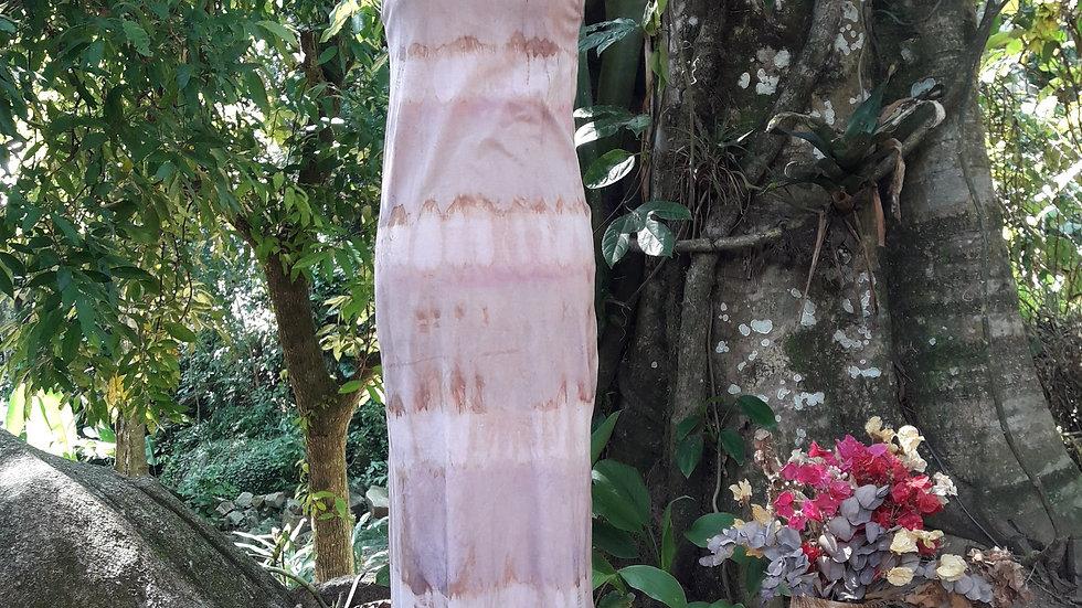 Vestido algodão orgânico tingido com rúbia e pau campeche