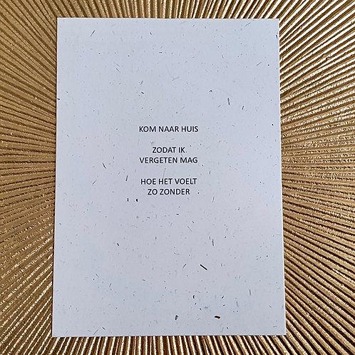 postkaart KOM NAAR HUIS