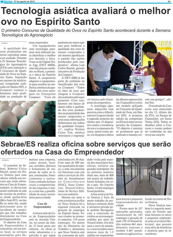 Jornal Hoje de São Gabriel da Palha destacou o I Concurso de Qualidade de Ovos no Espírito Santo.