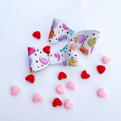 Candy Hearts Bow (Bow Pack/Nylon Headband)