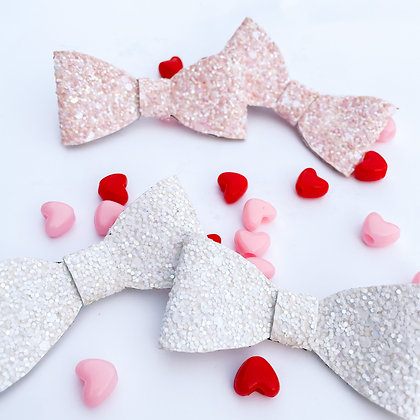 Frosty White or Frosty Pink Bow (Bow Pack/Nylon Headband)