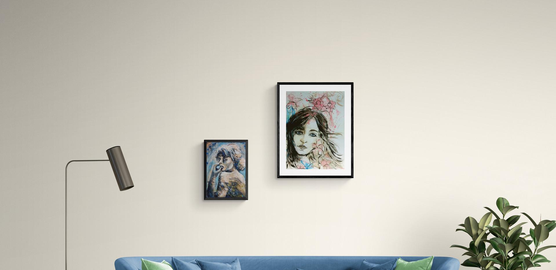 Acrylic-painting-papier-canvas-portrait-woman-Jenie Gospodinova