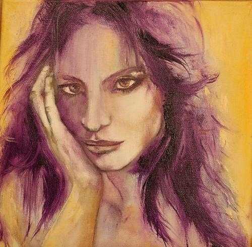 portrait, woman, violet, oil portrait woman,