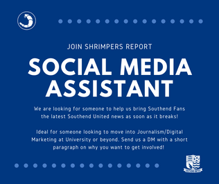 Design used to advertise the need for a Social Media Assistant.