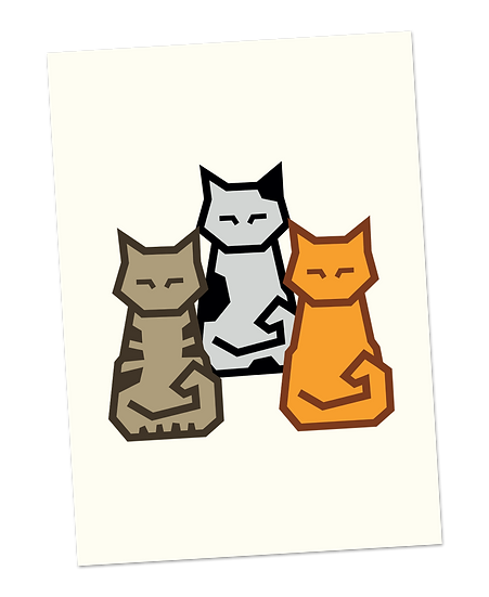 Ansichtkaart: Colourful cats