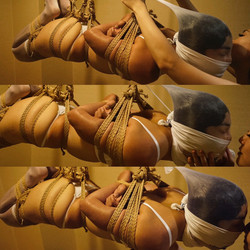 suspension wearing a face stocking