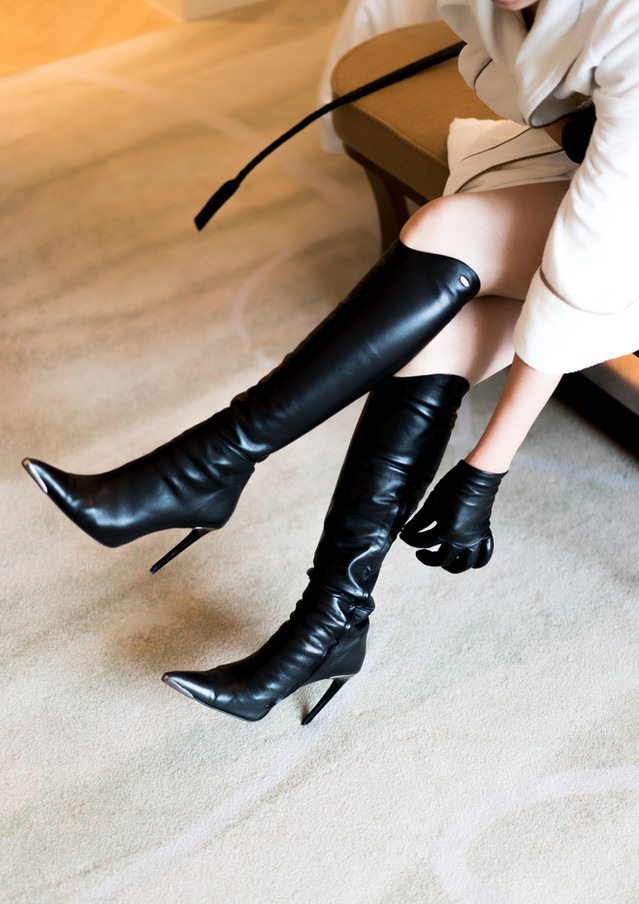 Leather Fetish Boots Heels Dominatrix Chiaki