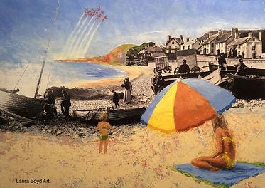 Look Mum - collaged historic photo & acr